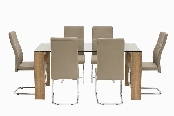 Large Oak & Taupe Chair Dining Set