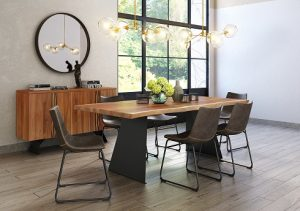 dark wood table with faux leather chair