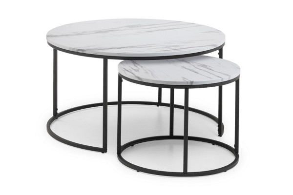 White Marble Round Nesting Coffee Tables