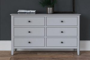 A pale grey wide chest